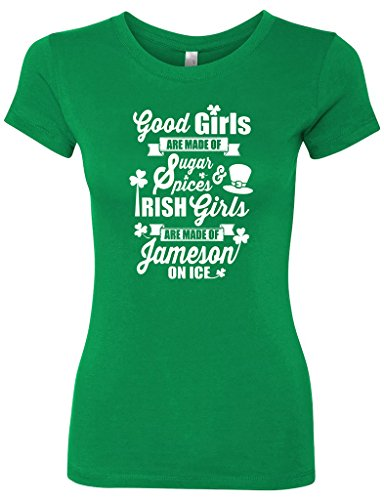 Panoware Women's St Patricks Day T-Shirt | Good Irish Girls are Made of Jameson on Ice, Kelly, Large, St Patrick's Day clothing, holiday, style, Irish, fashion
