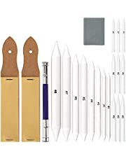 AIEX 21pcs Blending Stump and Tortillion Art Blender Set with Sandpaper Pencil Sharpener Pencil Extension Tool Drawing Kneaded Eraser for Drawing Sketch