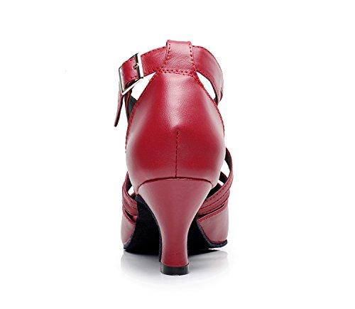 Pompes Rouge Latin Cuir Mariage Party Ballroom Tango Femmes Strap En Qj807 Ankle De Danse Minitoo Salsa 6wZqTznO