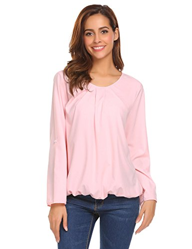 Mofavor Women's Long Sleeve Ruond Neck Solid Casual Pleated Blouses Tops Pink ()