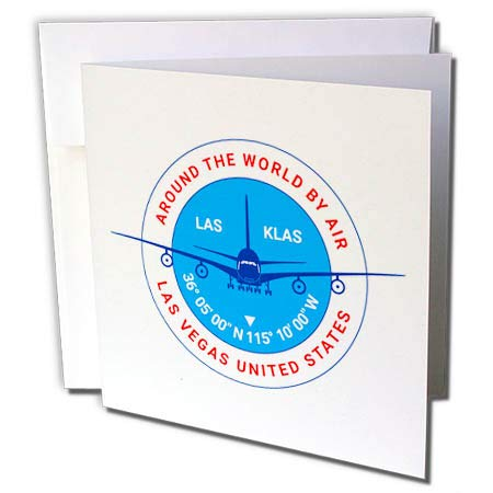 (3dRose Alexis Design - Around The World by Air - Round Badge, a Blue Airliner. Red Text Las Vegas United States - 6 Greeting Cards with envelopes (gc_304581_1))