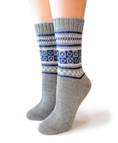 Women's 100% Alpaca Wool Fair Isle Geometric Socks – Handmade (Blue, Large)