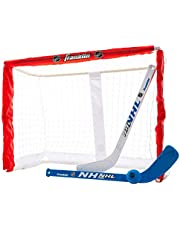 Franklin Sports Knee Hockey Goal Set - Mini Hockey Goal Set - Kids Hockey Set - Easy Transport with Exclusive Fold-N-Go Design - NHL - Great for Kids