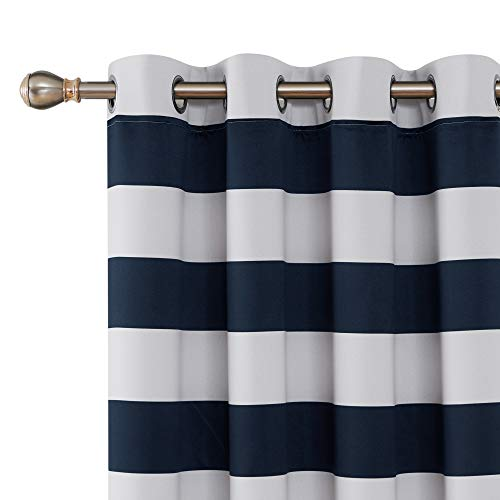 Deconovo Navy Blue Striped Room Darkening Curtains Grommet Nautical Navy and Greyish White Striped Curtains for Kids Room 52W X 72L Navy Blue (White Navy Curtains And)