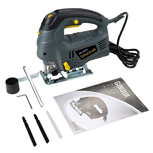Jigsaw, Ginour Electric Jigsaw 800W 3000SPM, 7 Variable Speed, 6 Blades, Laser Guide, 4 Position Orbital Action, Cutting Angle -45°to 45°, Carrying Case, Jigsaw Tool for Wood Metel Cutting