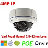 NightKing 4MP POE IP Camera,2592X1520@24fps,4Megapixel Network Security Vandal Dome IP Camera,2.8~12mm Vari Focal Lens,ONVIF&P2P,100Ft Night Vision,Free App View