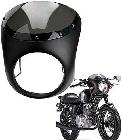 Iycorish Universal Motorrad Retro Front Scheinwerfer Verkleidung Windschutz Scheibe Wind Schutz Scheiben Abdeckung Schwarz