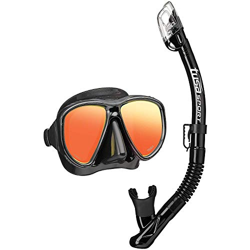 TUSA Sport Adult Powerview Mirrored Mask and Dry Snorkel Combo, Black/Black
