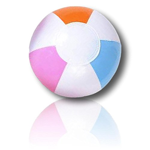 """(ULTRA Durable & Custom {5"""" Inch} 24 Bulk Pack of Small-Size Inflatable Beach Balls for Summer Fun, Made of Lightweight FLEX-Resin Plastic w/ Light & Bright Pastel Wedge Stripes Pattern)"""