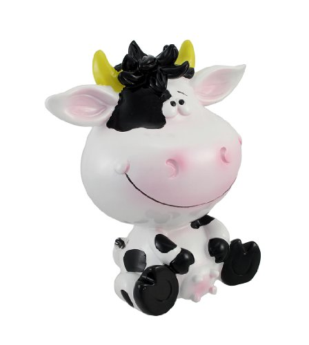 Zeckos Silly Sitting Black and White Milk Cow Children`s Coin Bank