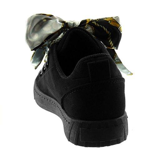de Angkorly Saten 5 Fantasía con Plano Codones Mujer 2 cm Tacón Detalle Sporty Zapatillas Negro Aro Tennis Deportivos Moda Chic de r1rqSw