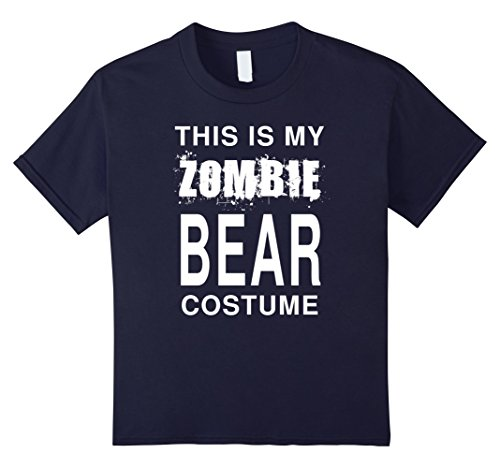 Kids This Is My Zombie Bear Costume: Funny Halloween T-Shirt 12 Navy