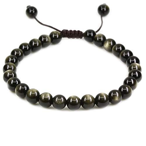 Natural AA Grade Golden Obsidian Gemstone 6mm Round Beads Adjustable Bracelet 7
