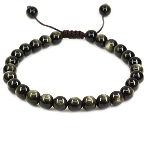 Natural AA Grade Golden Obsidian Gemstone 6mm Round Beads Adjustable Bracelet 7 Unisex