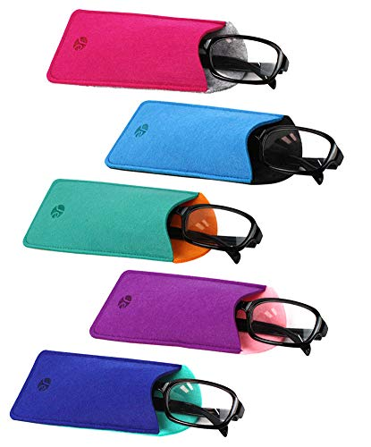 [5 PACK], JAVOedge Soft Felt Pouch Case for Adult Reading Glasses (5 Different 2 Tone Colors), MicroFiber Cloth