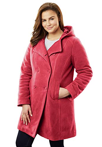 Woman Within Women's Plus Size Double-Breasted Hooded Fleece Peacoat - Fresh Red, 16 ()