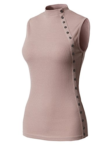 Striped Mock Layer Top (H2H Women's Casual Slim Fit Long Sleeve Turtleneck T-Shirt Top Tee Mauve US L/Asia L (CWTTK066))