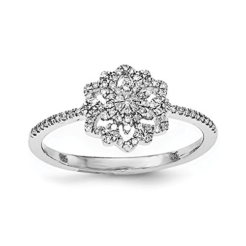 Size 7 Solid 925 Sterling Silver Diamond Flower Ring (.177ct.) (Seven Diamond Flower Ring)