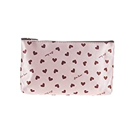 Cosmetic Bag Make up Pouch Hand Case Small Pink Heart Print
