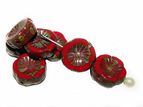 Pressed Glass Flower Beads - 9