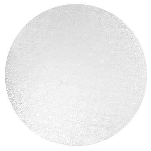 O'Creme White Wraparound Cake Pastry Round Drum Board 1/4 Inch Thick, 14 Inch Diameter - Pack of 10
