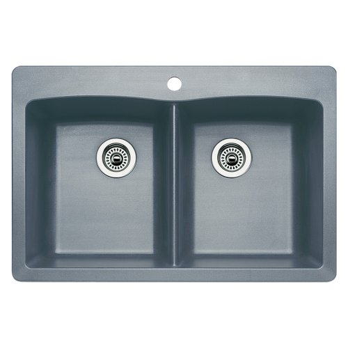 Blanco 440219 Diamond Equal Double Bowl Kitchen Sink, Metallic Gray Finish by Blanco
