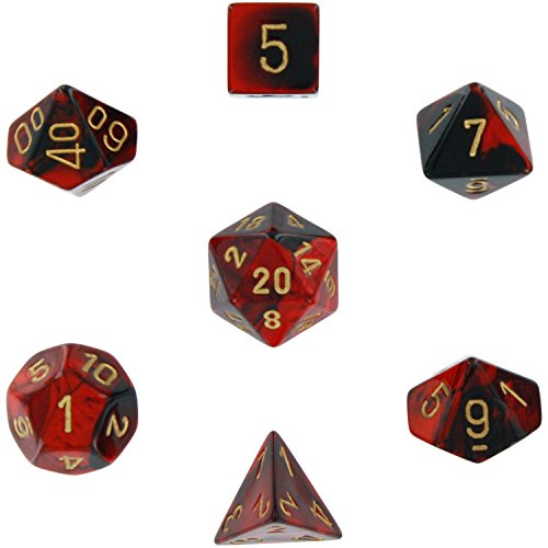 Chessex Manufacturing Polyhedral 7-Die Gemini Dice Set: Black & Red with Gold (d4, d6, d8, d10, d12, d20 & d00) CHX-26433