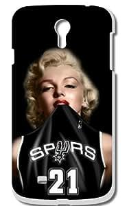 Marilyn Monroe Tim Duncan San Antonio Spurs Hard Case for Samsung Galaxy IV S4 (Black Jersey)