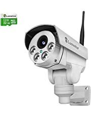 Luowice 1080P Wifi Security Camera 2MP with PTZ 4X Zoom with Audio Night Vision and Built-in 32G Micro SD Card Indoor/Outdoor IP66 Waterproof IP Camera