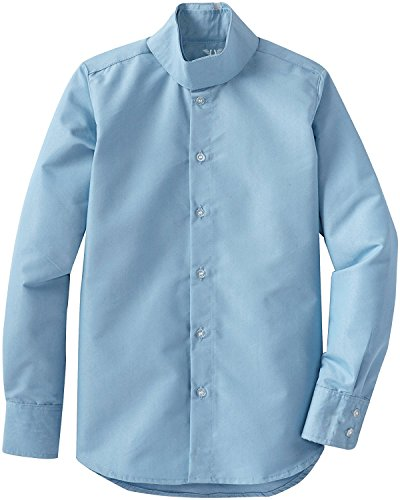 (TuffRider Girl's Starter Long Sleeve Show Shirt, Light Blue, 14)