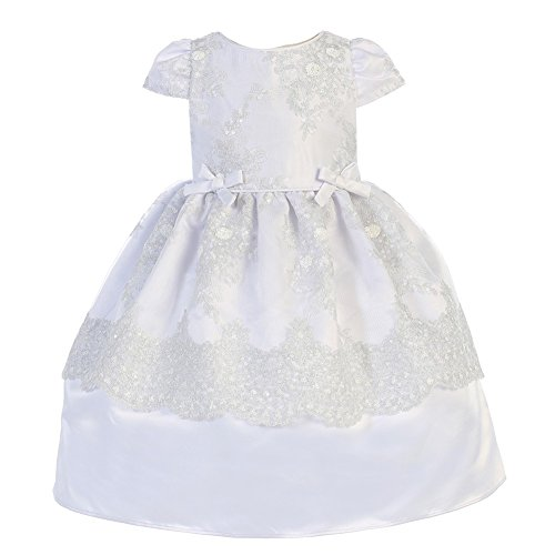 - Angels Garment Little Girls White Satin Mesh Baptism Flower Girl Dress 4