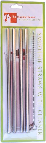 The Handy House Smoothie Straws with Cleaner (Set of 4), Silver