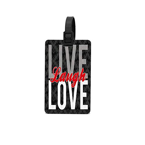 MichelleSmithred Live Laugh Love Different Typed Words of Wisdom Victorian Antique Damask Motifs Tile Travel Luggage Tag Suitcase ID Tags Baggage Handbag Tag Labels