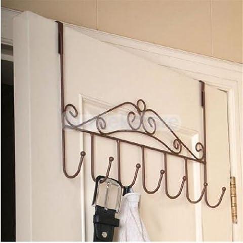 Hat Bag Towel Clothes Over Door Bathroom Hanger Rack Holder 7 Hooks-Bronze - Bronze Oak Bird Feeder