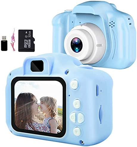 Aiboria Kids Toy Kids Digital Camera For 3 9 Years Old Boys Girls Toddler Video Recorder 2 Inch 1080p Birthday Gifts For 3 Years Kids Includes 32g Sd Card Blue Küche Haushalt