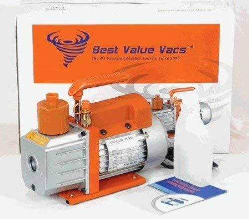 Best Value Vacs 3cfmpump 3 CFM Vacuum Pump, Single Stage, 110V, Heavy Gauge Aluminum Chasis, 12' x 10' x 4' Size