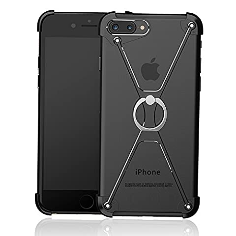 iPhone 7 Case, Huluwa Anti-Scratch Metal Bumper Frame Case with 360 Degree Rotating Ring (Iphone 4 Metal Case With Screws)