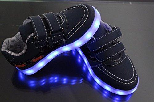 [Present:kleines Handtuch]JUNGLEST® 7 Farben LED Kinder, Jungen, Mädchen führte leuchten Trainer Sneakers Turnschuhe Sportschuh Black