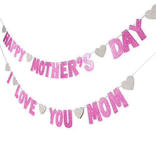 TOODOO 2 String Glitter Happy Mother's Day Banners with Heart for Mother's Day -