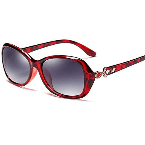 UV400 de Estilo sol polarizadas de Mujer Protección 55mm Retro Red Color con Brown Clásico Caminante Gafas 0pSnzRz