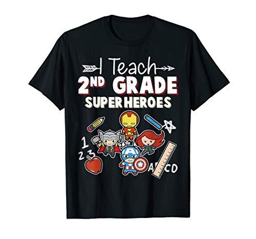 (I Teach second Grade Superheroes Funny Hero Teaching Gift T-Shirt)