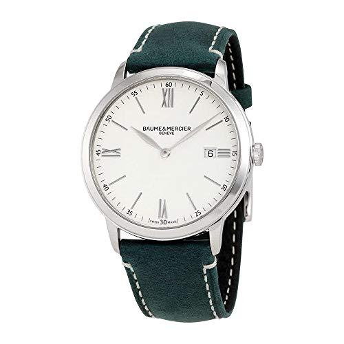 Baume et Mercier Classima White Dial Men's Green Leather Watch 10388