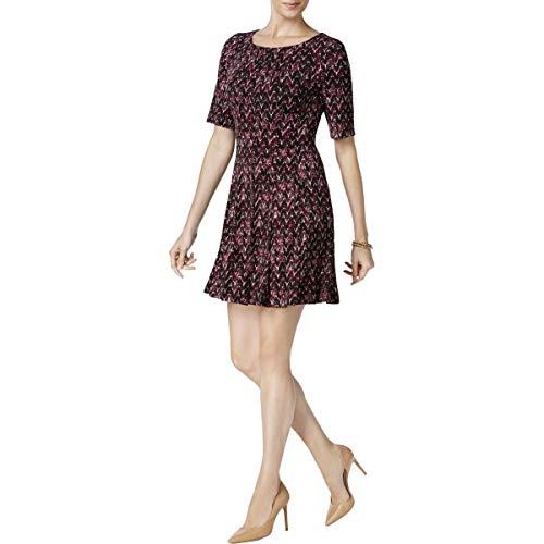Connected Apparel Womens Petites Printed Mini Casual Dress Purple 8P