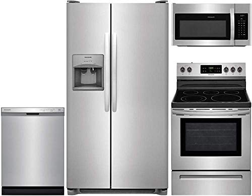 Frigidaire 4-Piece Stainless Steel Kitchen Package with FFSS2615TS 36 Side-by-Side Refrigerator, FFEF3054TS 30 Freestanding Electric Range, FFCD2418US 24 Full Console Dishwasher and FFMV1645TS 30