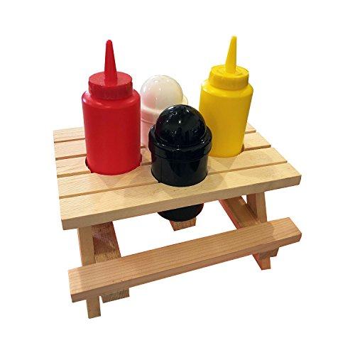 Altatac Wooden Picnic Table Condiment Set - Salt and Pepper Shaker Ketchup Mustard