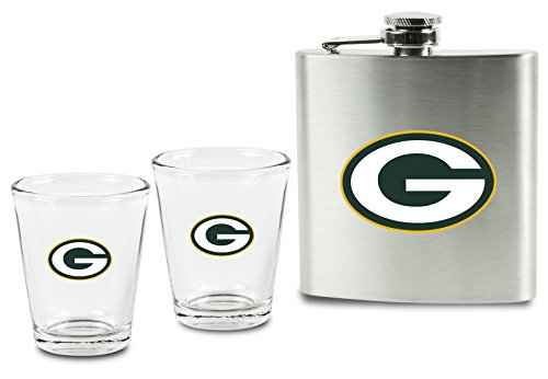 - NFL Green Bay Packers Shot Glasses &  Brushed Stainless Steel Flask Set