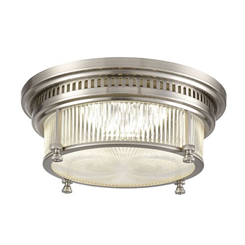 Art Deco Flush - AXILAND Brushed Nickel Flush Mount Ceiling Lights, 28W 2380LM 4000K Neutral Light,with Clear Glass Shade
