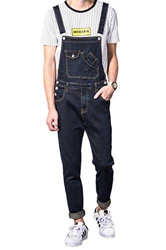 (Sokotoo Men's Casual Slim Pocket Denim Bib Overalls Size 32, Blue)