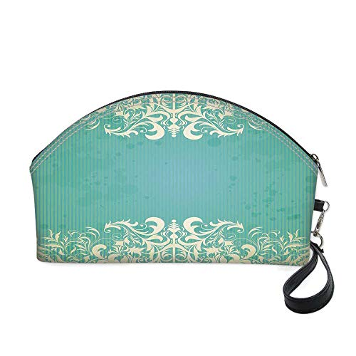 (Vintage Small portable cosmetic bag,Old Fashioned Frame with Grungy Ancient Floral Curlicues Baroque Revival Motifs Decorative for Women,10.8