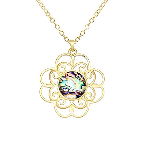 CHUANGYUN Gold-Plated Vine Lace Abalone Shell Necklace